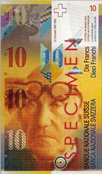 portrait of Charles-Édouard Jeanneret-Gris, better known as Le Corbusier, on the front of a Swiss 10 franc bank note