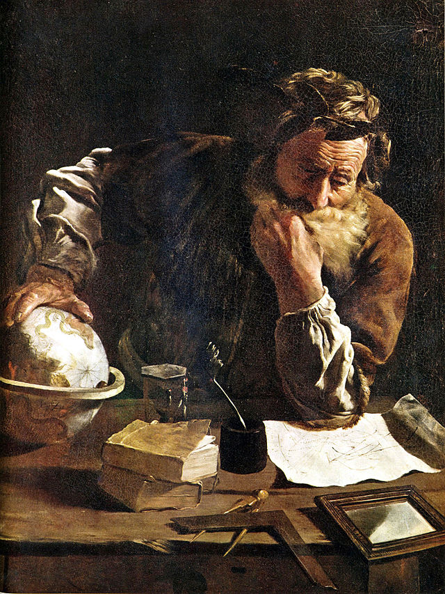 Archimedes painted by Domenico Fetti in 1620